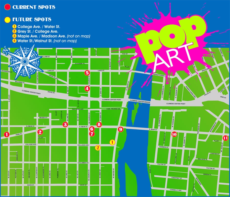visit our pop art elmira downtown works of art on a walking tour click here to load the map with artist bios